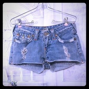 True Religion Distressed Jean Shorts Size 27